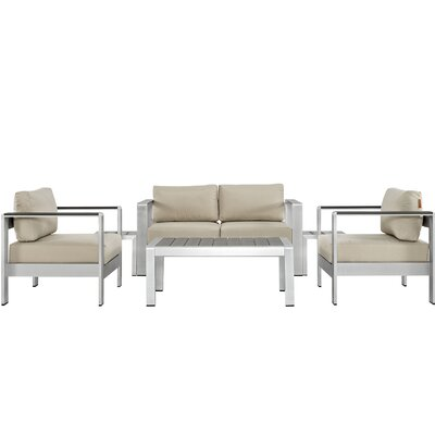 Coline Outdoor Patio Rust Resistant Aluminum 6 Piece Sectional Seating Group with Cushion Fabric: Beige