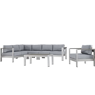 Coline Outdoor Patio Aluminum 6 Piece Sectional Seating Group with Cushion Fabric: Gray
