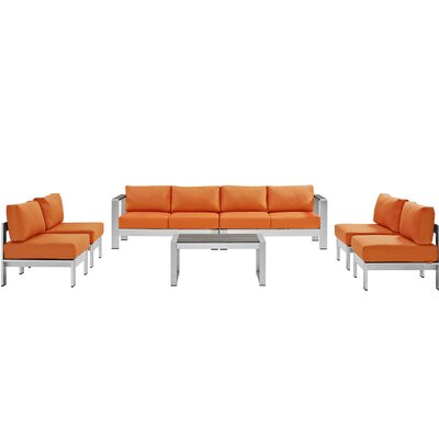 Coline 7 Piece Sectional Seating Group with Cushion Fabric: Orange