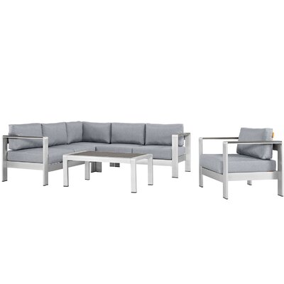 Coline Outdoor Patio Aluminum 5 Piece Deep Sectional Seating Group with Cushions Fabric: Gray