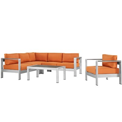 Coline Outdoor Patio Aluminum 5 Piece Deep Sectional Seating Group with Cushions Fabric: Orange