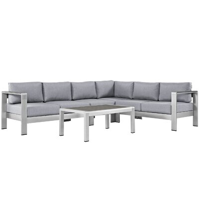 Coline Outdoor Patio Aluminum 5 Piece Sectional Seating Group with Cushion Fabric: Gray