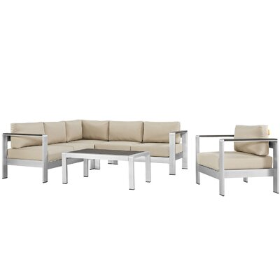 Shore Outdoor Patio Aluminum 5 Piece Deep Sectional Seating Group with Cushions Fabric: Beige