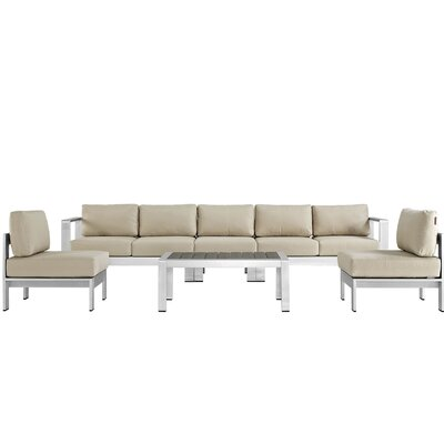 Coline Contemporary Outdoor Patio Aluminum 6 Piece Sectional Seating Group with Cushion Fabric: Beige