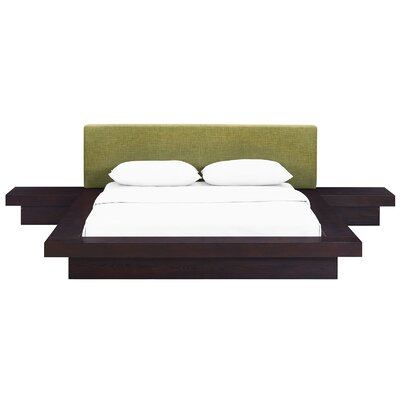 Rennan Queen Platform 3 Piece Bedroom Set Frame Finish: Cappuccino, Headboard Color: Green