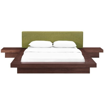 Rennan Queen Platform 3 Piece Bedroom Set Frame Finish: Walnut, Headboard Color: Green