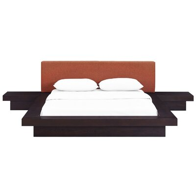Rennan Queen Platform 3 Piece Bedroom Set Frame Finish: Cappuccino, Headboard Color: Orange