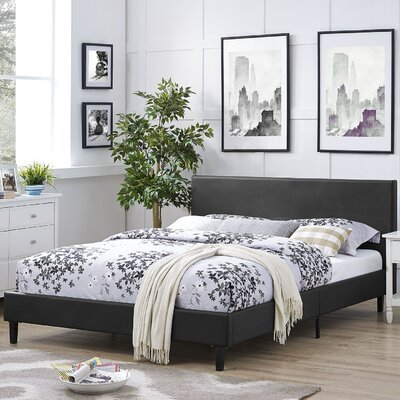 Tafolla Vinyl Bed Frame Color: Black, Size: Queen