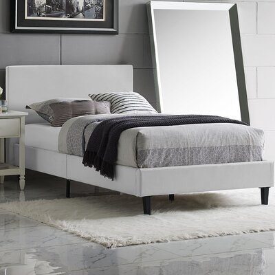 Anya Vinyl Bed Frame Color: White, Size: Twin