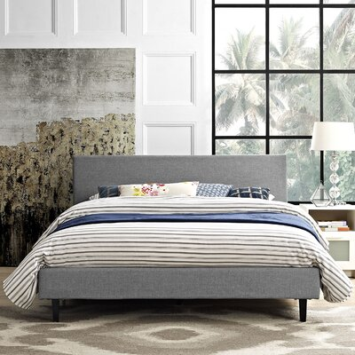 Anya Bed Frame Color: Light Gray, Size: Twin