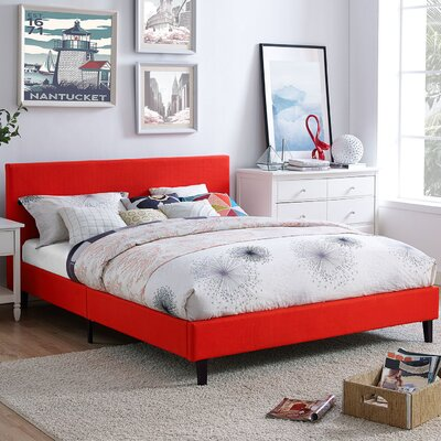 Anya Bed Frame Color: Atomic Red, Size: Queen