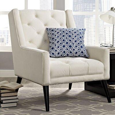 Peruse Velvet Armchair Upholstery: Ivory