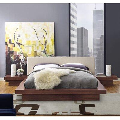 Rennan Queen Platform 3 Piece Bedroom Set Frame Finish: Walnut, Headboard Color: Brown