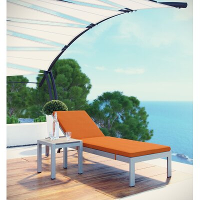 Coline Patio Chaise Lounge with Cushion Fabric: Orange, Finish: White