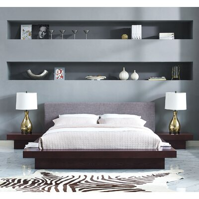 Rennan Queen Platform 3 Piece Bedroom Set Frame Finish: Cappuccino, Headboard Color: Beige
