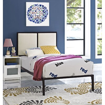 Della Twin Platform Bed Frame Finish: White, Headboard Color: Gray