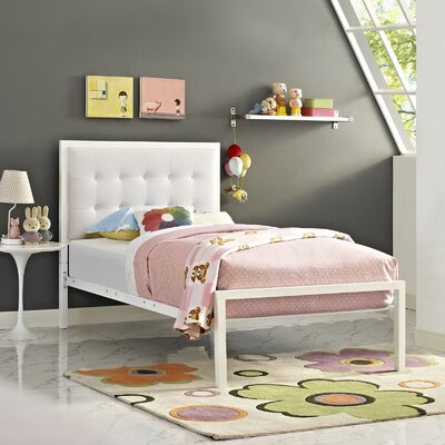Millie Twin Platform Bed Finish: White, Accessory Finish: White