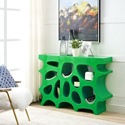 Wander Small Console Table Color: Green