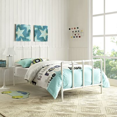 Dower Twin Slat Bed Finish: White