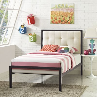 Lottie Twin Platform Bed Finish: Brown, Accessory Finish: Beige