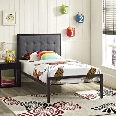 Millie Twin Platform Bed Color: Brown, Accessory Color: Gray
