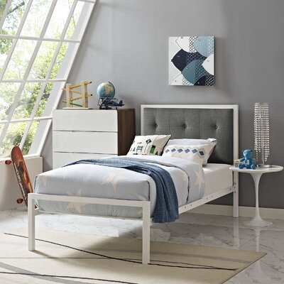Lottie Twin Platform Bed Color: White, Accessory Color: Gray