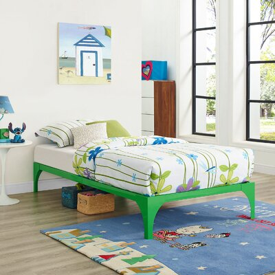 Ollie Twin Bed Frame Finish: Green