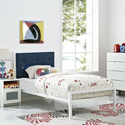 Lottie Twin Platform Bed Finish: White, Accessory Finish: Azure