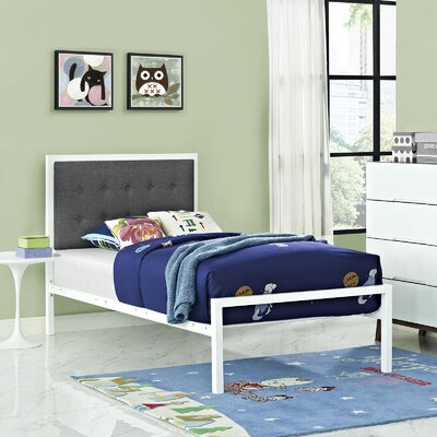 Millie Twin Platform Bed Color: White, Accessory Color: Gray