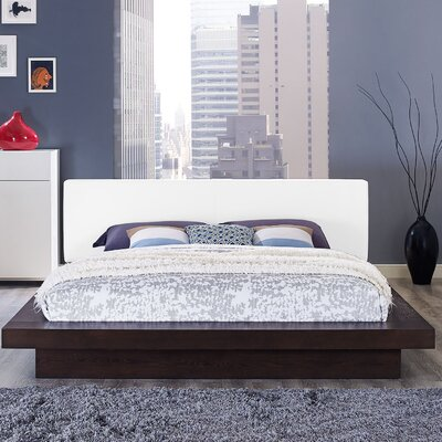 Rennan Vinyl Queen Upholstered Platform Bed Color: Cappuccino