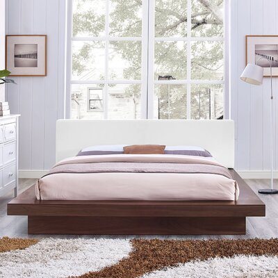 Rennan Vinyl Queen Upholstered Platform Bed Color: Walnut