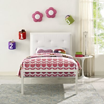Lottie Twin Platform Bed Color: White, Accessory Color: White