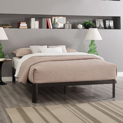 Corinne Bed Frame Size: Queen, Color: Brown