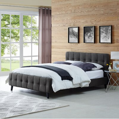 Ophelia Queen Upholstered Platform Bed Color: Gray