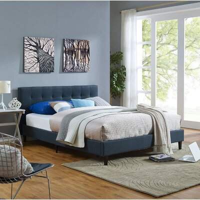 Linnea Upholstered Platform Bed Size: Queen, Upholstery: Black