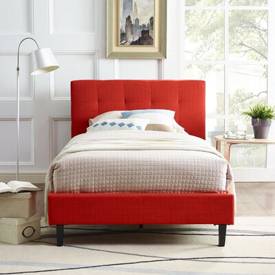 Molinaro Upholstered Platform Bed Size: Queen, Color: Atomic Red