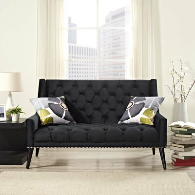 Mcwilliams Loveseat Upholstery: Black