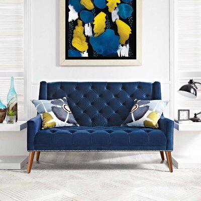 Mcwilliams Loveseat Upholstery: Navy