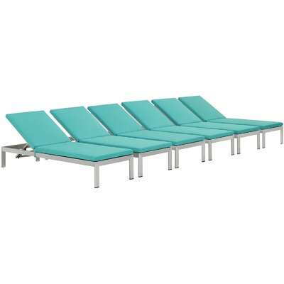 Coline Patio Chaise Lounge with Cushion (Set of 6) Finish: Silver, Fabric: Turquoise