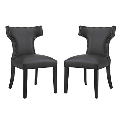 Curve Upholstered Dining Chair Upholstery: Black