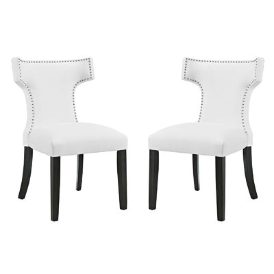 Curve Upholstered Dining Chair Upholstery: White