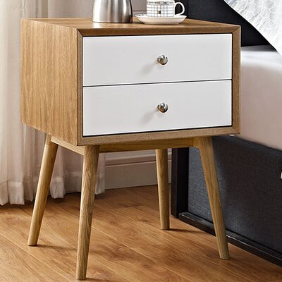 Dispatch 2 Drawer Nightstand Color: Natural/White