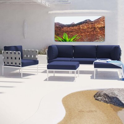 Darnell 6 Piece Deep Seating Group with Cushion Fabric: Navy
