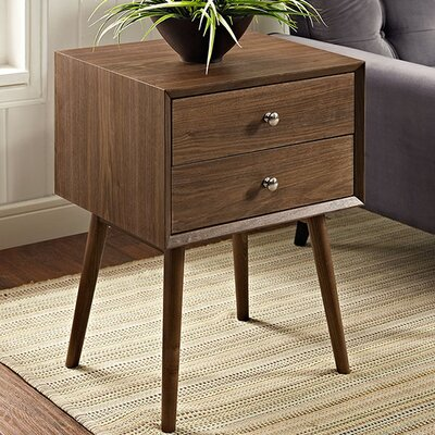 Dispatch 2 Drawer Nightstand Color: Walnut