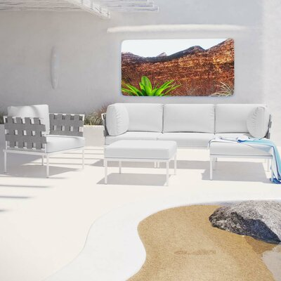 Harmony 6 Piece Deep Seating Group with Cushion Fabric: White