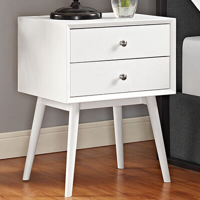 Dispatch 2 Drawer Nightstand Color: White