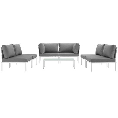 Darnell 7 Piece Sectional Seating Group with Cushions Fabric: Gray