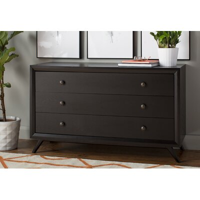 Tracy 3 Drawer Dresser Finish: Black