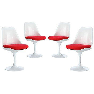 Julien Dining Side Chair Upholstery: Red