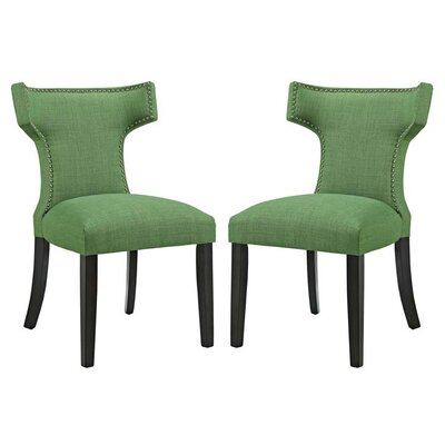 Curve Upholstered Dining Chair Upholstery: Green